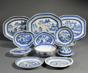 Twelve Assembled Blue and White Canton Porcelain Table Items