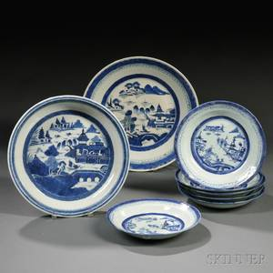 Eight Blue and White Canton Porcelain Table Items