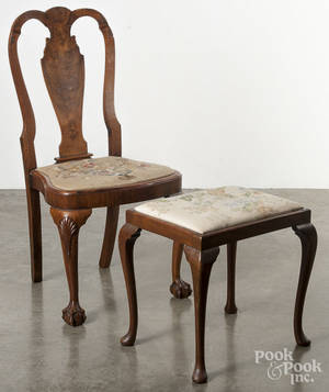 George II style burl veneer dining chair