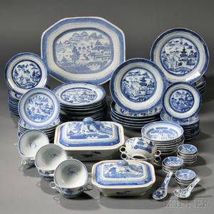 Assembled Group of Blue and White Canton Porcelain Tableware