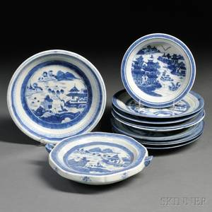 Eleven Blue and White Cantondecorated Porcelain Table Items