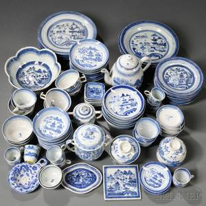 Assembled Group of Blue and White Mostly Canton Porcelain Tea and Tableware