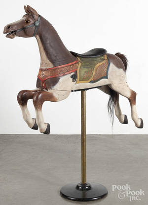 Carved and painted carousel horse
