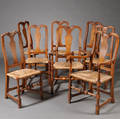Set of Eight Queen Annestyle Maple and Figured Maple Dining Chairs