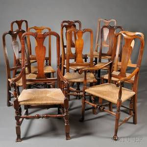Assembled Set of Eleven Queen Anne Rush Seat Dining Chairs