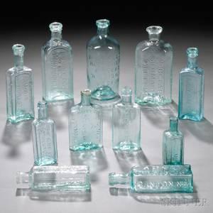 Eleven Aqua Blownmolded Glass MedicineDruggist Bottles