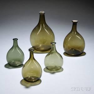 Five Olive Green Blown Glass Chestnut Bottles