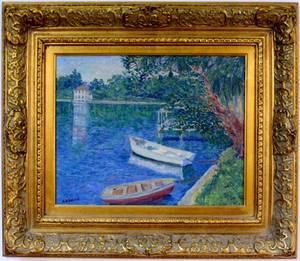 Impressionist Style Landscape wBoats Signed