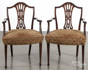 Pair of George III style mahogany dining chairs
