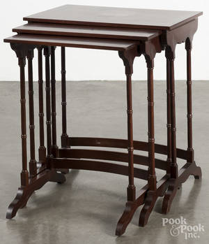 Federal style inlaid mahogany nesting tables