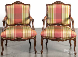 Pair of French style fauteuils