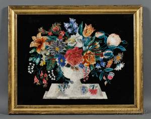 Framed Reversepainted Glass Tinsel Picture of an Urn of Flowers
