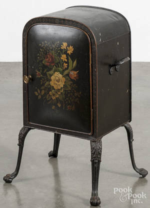 Victorian tole decorated plate warmer