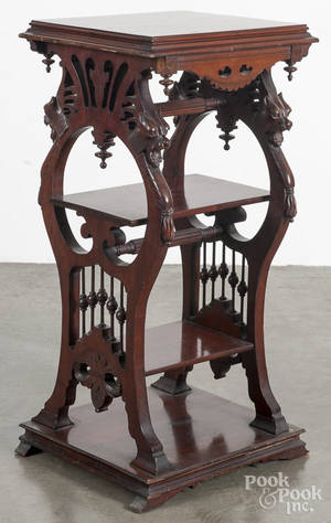 Victorian carved cherry stand