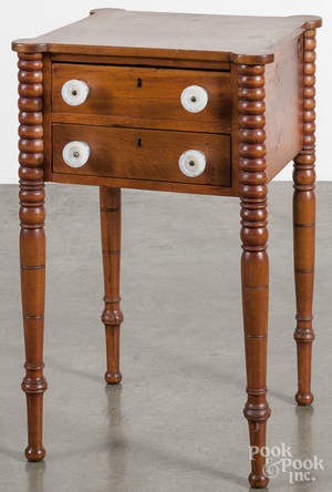 New England Sheraton birch and pine twodrawer stand