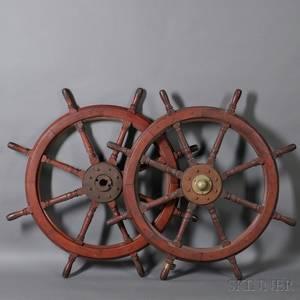Pair of Mahogany and Cast Iron Ships Wheels