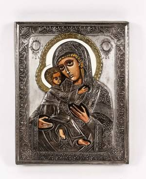 Russian Kazan Mother of God Icon with Riza