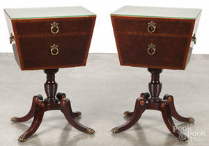Pair of Schmieg and Kotzian Federal style mahogany end tables