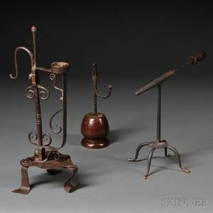 Wrought Iron Goffering Iron Rush Light and Torch Stand
