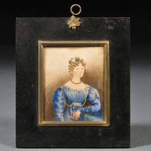 British School 19th Century Small Portrait of a Young Lady Wearing a Blue Gown and Holding a Red Book