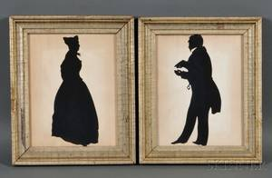 Pair of Framed Silhouettes of a Man and Woman