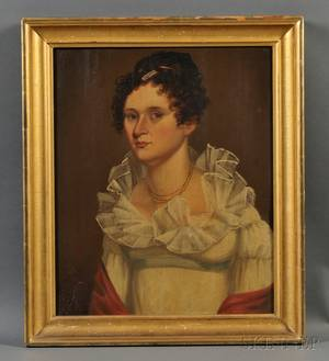 American School 19th Century Portrait of a Young Woman Wearing a White Gown with a Red Shawl