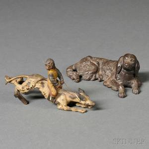 Vienna Bronze Figural Group and a Patinated Cast Iron Reclining Dog Figure