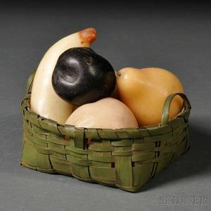 Small Greenpainted Splint Basket with Five Pieces of Wax Fruit