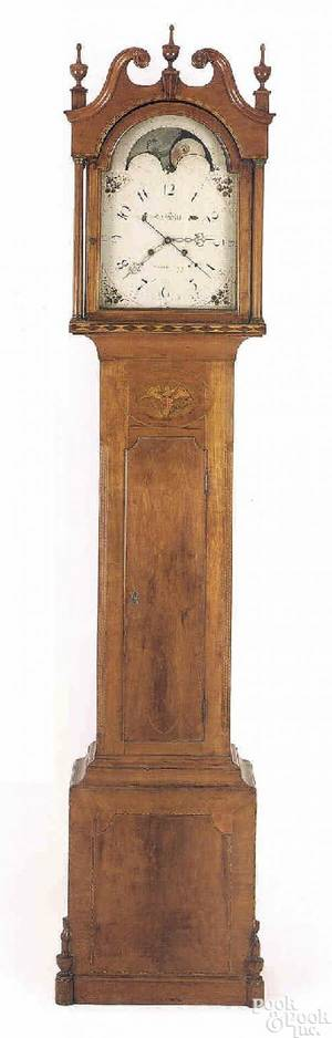 Pennsylvania cherry tall case clock ca 1800
