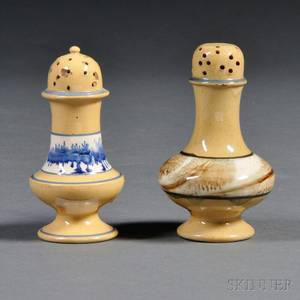 Two Yellowware Seaweeddecorated Pepper Pots