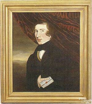American oil on canvas portrait early 19th c