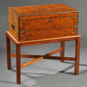 Brass Bound Burl Veneer Writing Box on a Mahogany Stand