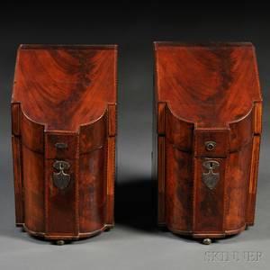Pair of English Inlaid Mahogany Veneer Knife Boxes