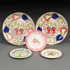 Pair of Large Floraldecorated Pottery Bowls and Three Plates