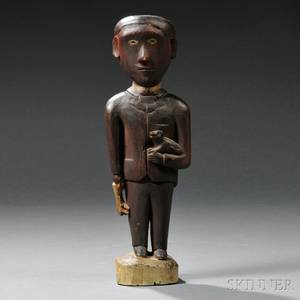Folk Carved and Painted Figure of a Man with Dog and Game
