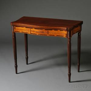 Federal Mahogany and Wavy Birch Inlaid Card Table