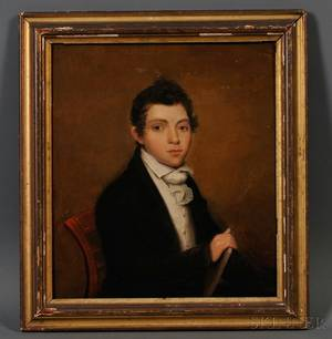 Attributed to Joseph Wood American 17781852 Portrait of a Young Man with a Book c 1820