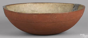 Large turned and painted bowl 19th c