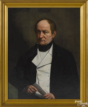American oil on canvas portrait of a gentleman mid 19th c