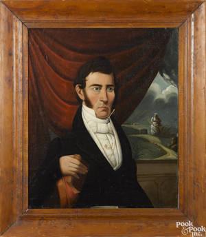 American oil on canvas portrait of a gentleman ca 1840