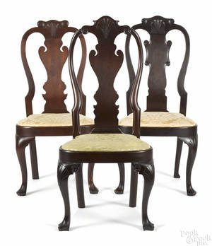 Frank Auspitz York Pennsylvania three Queen Anne style walnut dining chairs