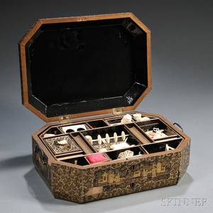 Export Lacquerware Sewing Box with Ivory Implements
