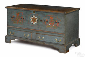 Pennsylvania painted pine dower chest ca 1800