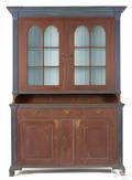 Pennsylvania painted poplar twopart Dutch cupboard ca 1800