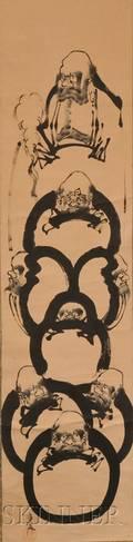 Hanging Scroll Depicting Darumas
