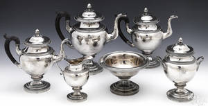 Philadelphia sixpiece coin silver tea and coffee service ca 1820