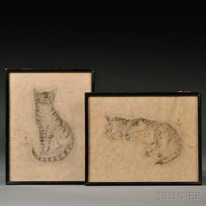 Two Lithographs of Foujita Cats