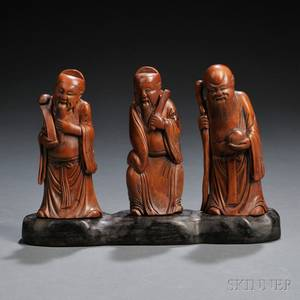 Boxwood Immortals Fu Lu Shou on Wood Stand