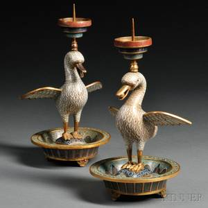 Pair of Cloisonne Candle Holders