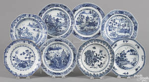 Eight Chinese export porcelain blue and white shallow bowls 18th19th c